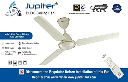 Jupiter Tricopter 5 Star Energy Saver Ceiling Fan with Remote Controlled -  Royal Ivory 3 Blades BLDC Motor 1200 mm