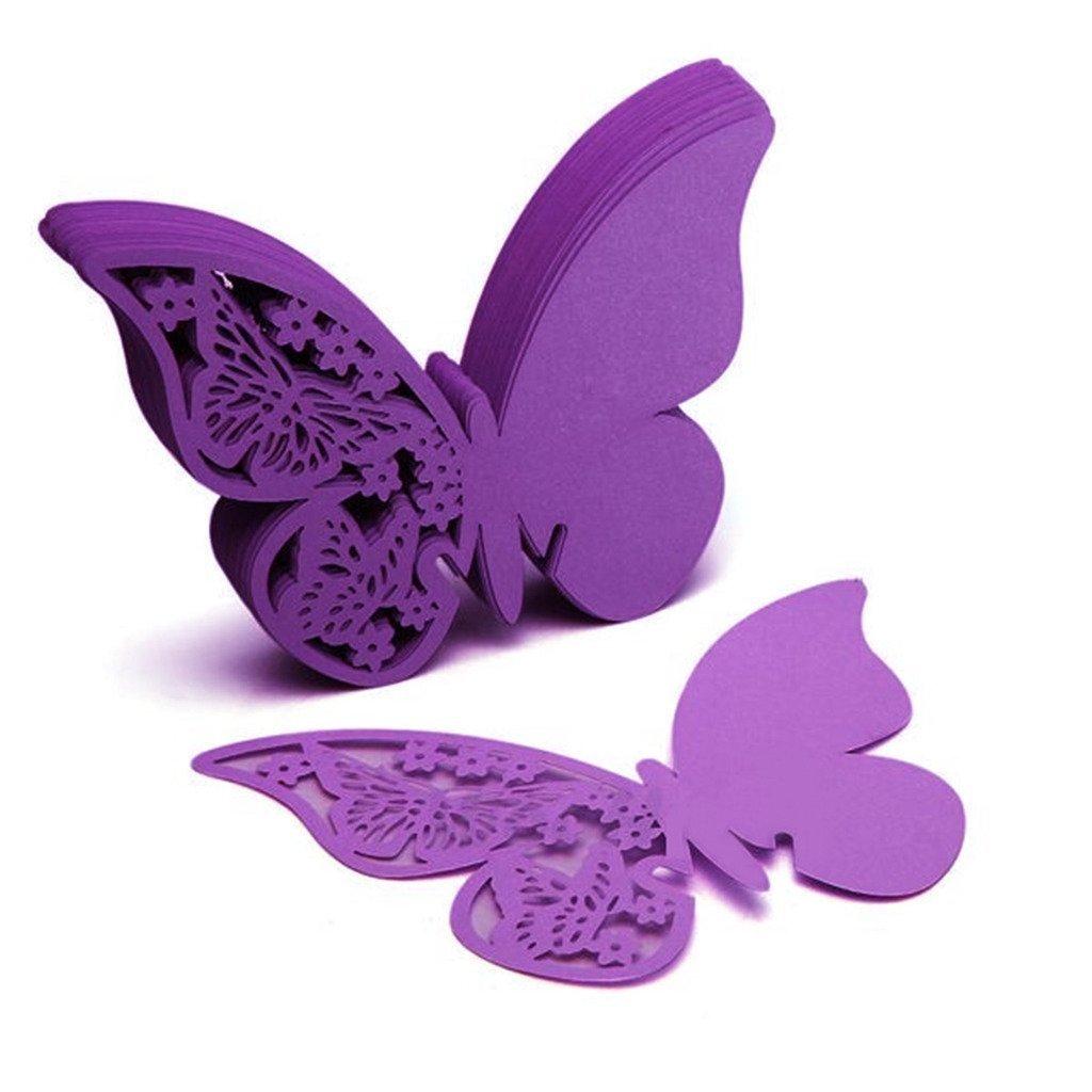 Nalmatoionme env. 50psc Papillon pour table de mariage Verre à vin marque-places Mariage (Violet)