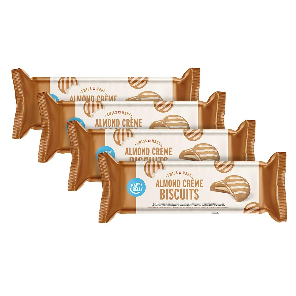 Marca Amazon - Happy Belly - Galletas suizas de cacao con relleno de crema de almendras, Pack de 4 (4 x 175g): Amazon.es: Alimentación y bebidas