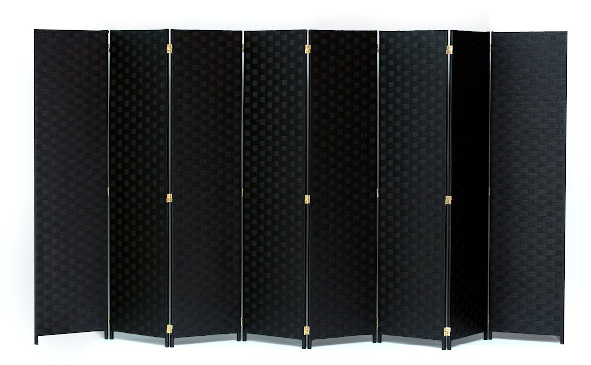 Room Divider 8 Panel Weave Design Paper Fiber Black Color By Legacy Decor