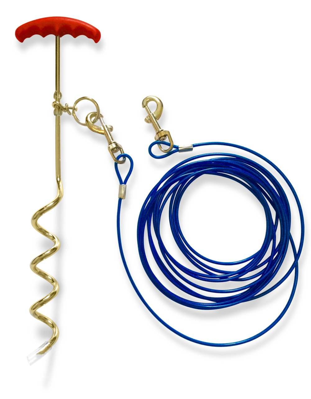 Dog Stake 16 Inches and Tie Out Cable 20 Feet Long - Complete Leash System for Outdoors, Yard and Camping - Small to Medium Dogs Up To 60 lbs