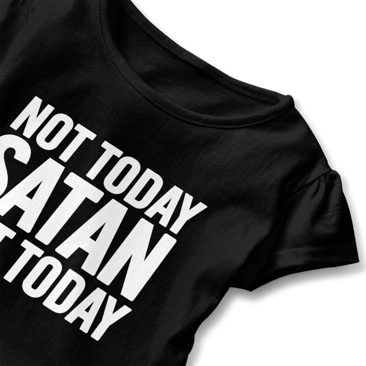 Not Today Satan Shirt Baby Girls Ruffles O-Neck Summer Clothes for 2-6 Years Old Baby Black