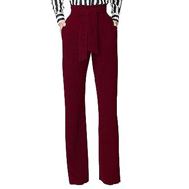 83162ce5d semen Femme Pantalon Évasé Taille Haute Slim Streth avec Ceinture Pantalon  Droit Trouser Legging Casual Uni