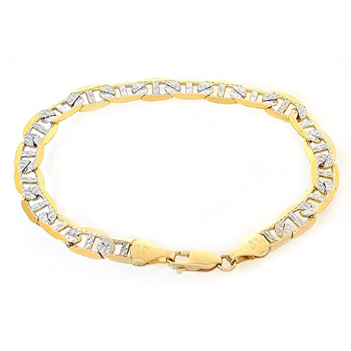 546032686c8c8 Amazon.com  7.6mm 14K Two Tone Gold Marine Curb Gucci Link Diamond Cut Chain  Bracelet Italy  Jewelry