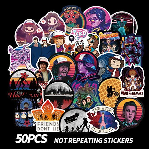 50pcs Stranger Things Fans Stickers For Laptop Water Bottle Luggage Snowboard Bicycle Skateboard Decal For Kids Teens Adult Waterproof Aesthetic