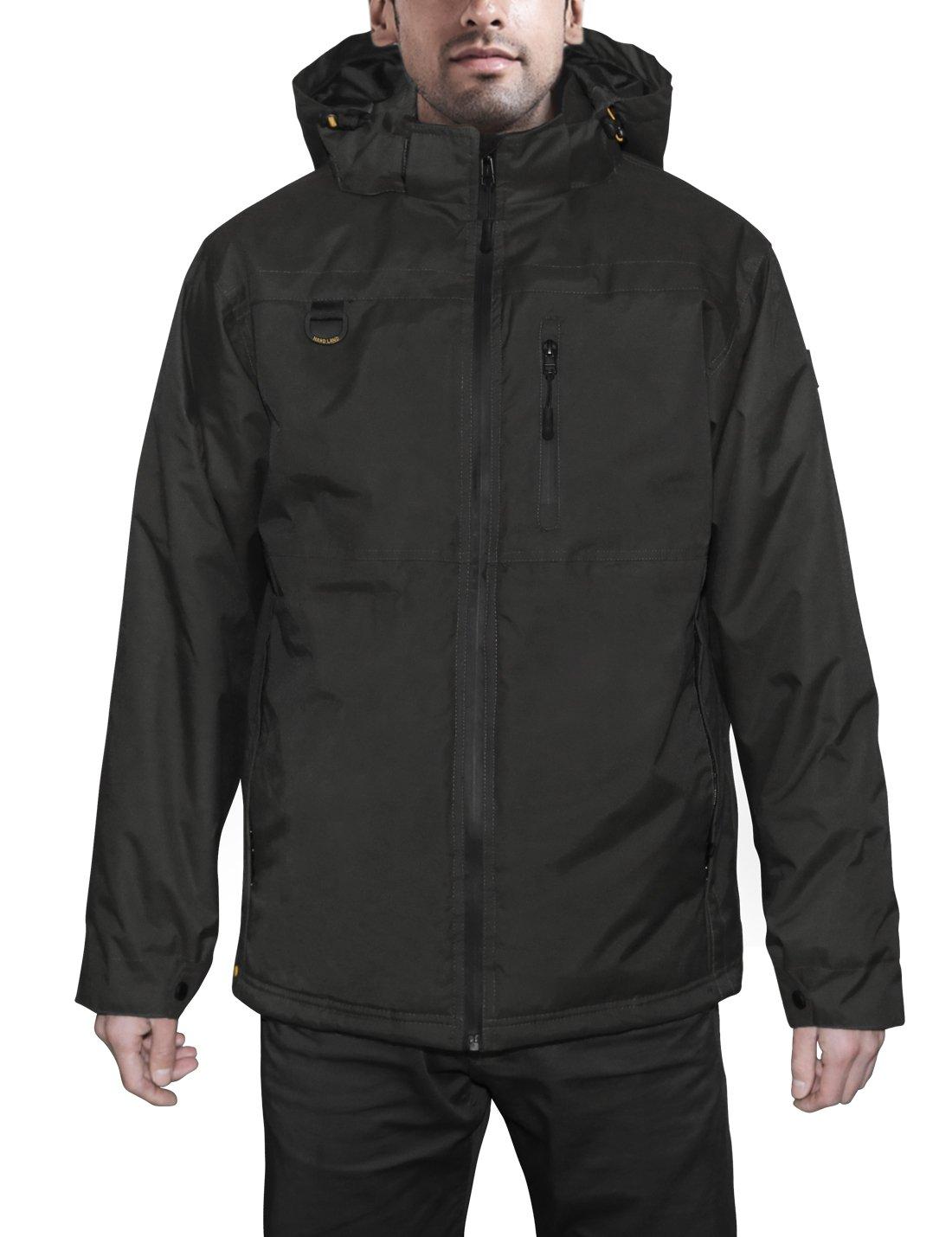 HARD LAND Mens Waterproof Down Parka Jacket Heavy Winter Coat Snowboard Jacket With Removable Hood Black Size XXXL