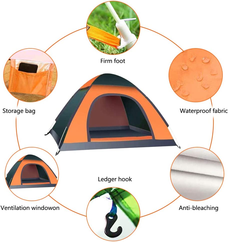 Instant Pop Up Tent,Pop Up Beach Tent,Hpory Camping Tents 2 3 Man Tent for Kids Adults Windproof Waterproof Automatic Portable Beach Tent,with Carry Bag UV Protection for Family Garden//Fishing//Picnic