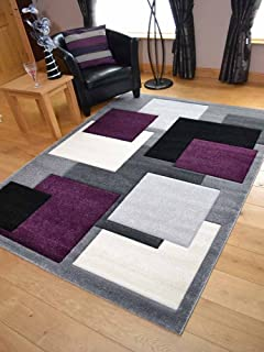 Tempo Silver Purple Square Design Thick Quality Modern Carved Rugs.  Available In 6 Sizes (