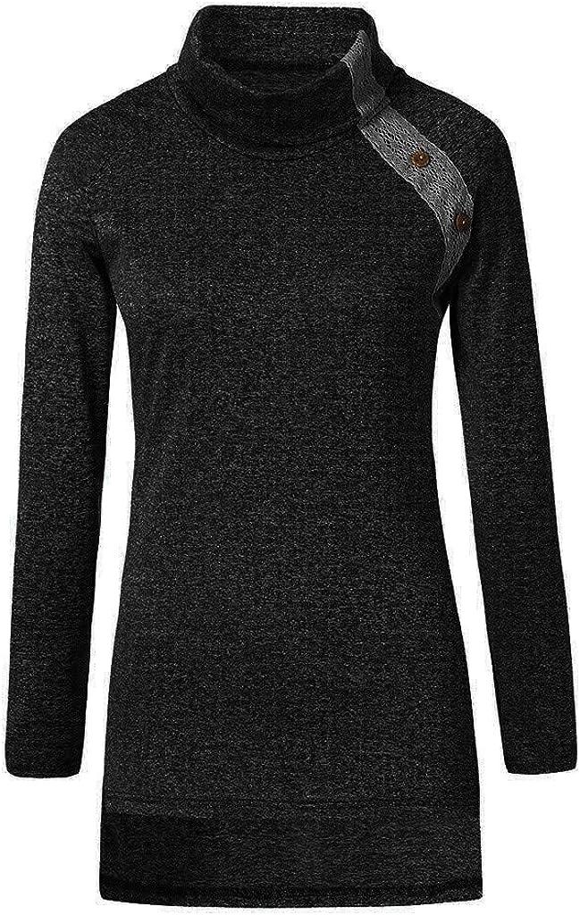 RUIVE Women/'s Turtleneck Blouse Autumn Button Pure Colour Casual Sweatshirt Basic Shirt Ladies Tunic Tops