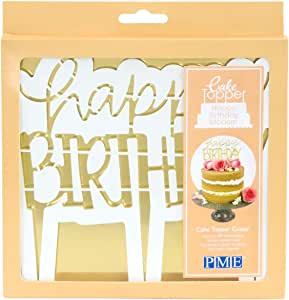 PME CTHB02 Cake Topper Cutter-Happy Birthday Modern, Standard, White