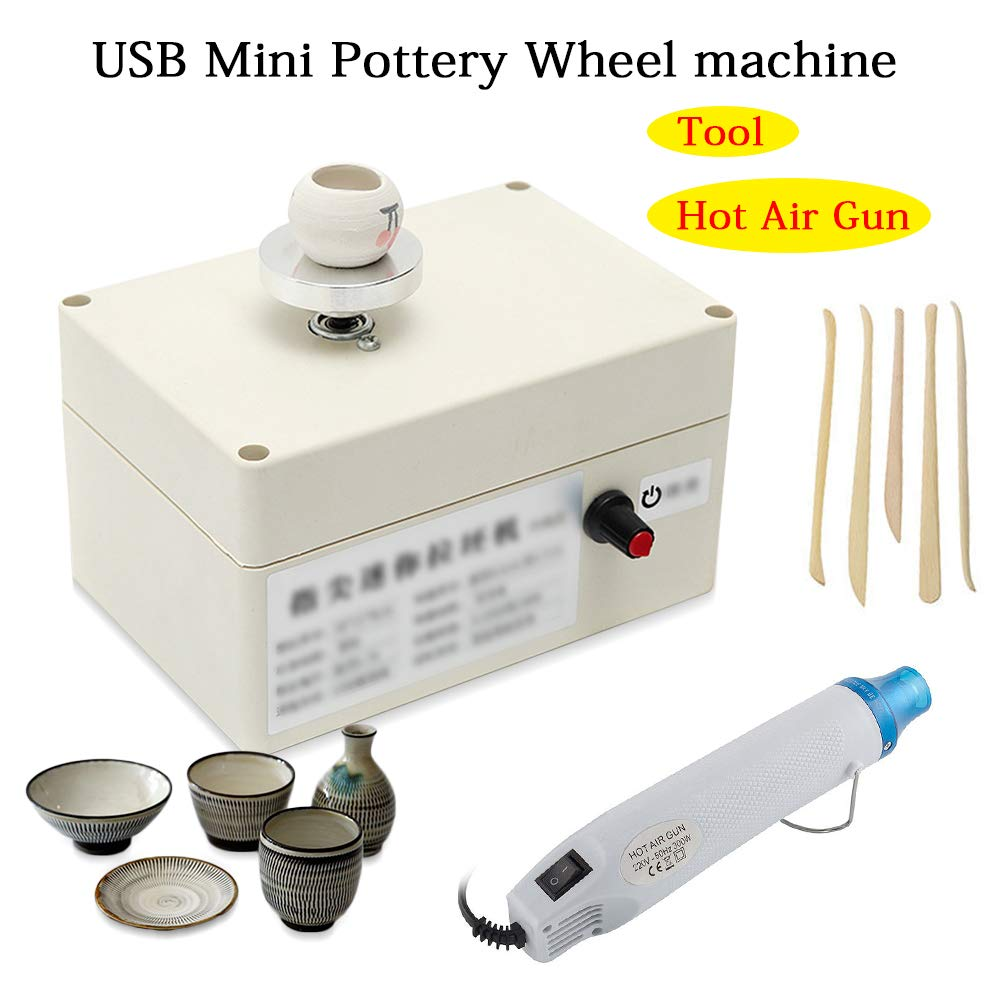 5V USB Mini Pottery Wheel Ceramic Molding Machine for DIY Craft Ceramic Art Work with Hot Air Gun