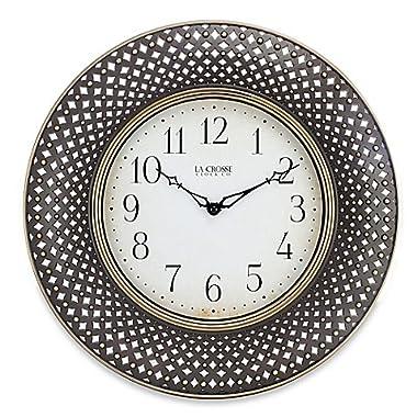 La Crosse Technology Lattice Wall Clock, Antiqued Brown