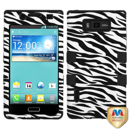 - MyBat LG US730/Splendor /Venice /L86c/Optimus Showtime TUFF Hybrid Phone Protector Cover - Retail Packaging - Zebra Skin/Black