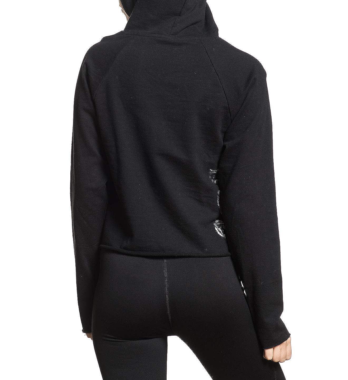 American Fighter Womens Allegiance Cut Off Black Hood Sweater