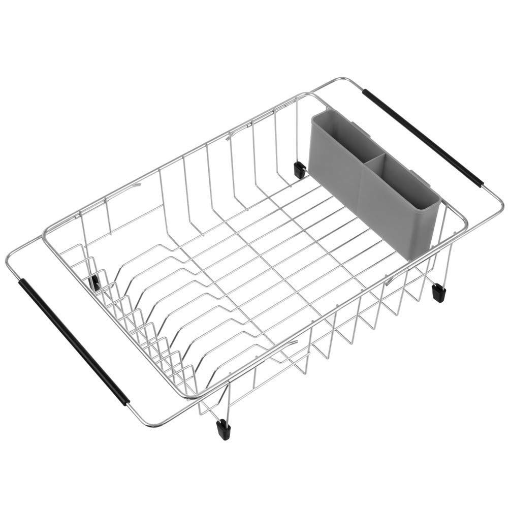 SANNO Large Dish Drying Rack, Deep Expandable Dishes Drainer Over The Sink Adjustable Arms Dish Drainer,Dish Rack in Sink or On Counter Utensil Silverware Storage Holder, Rustproof Stainless Steel