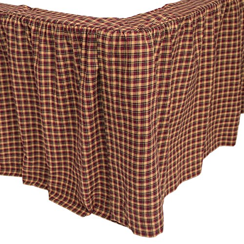 VHC Brands Americana Primitive Patriotic Patch Red Bed Skirt, Queen
