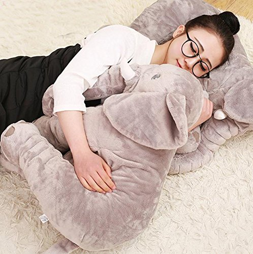 large baby kids toddler stuffed elephant plush pillow gray buy online in uae toy products. Black Bedroom Furniture Sets. Home Design Ideas