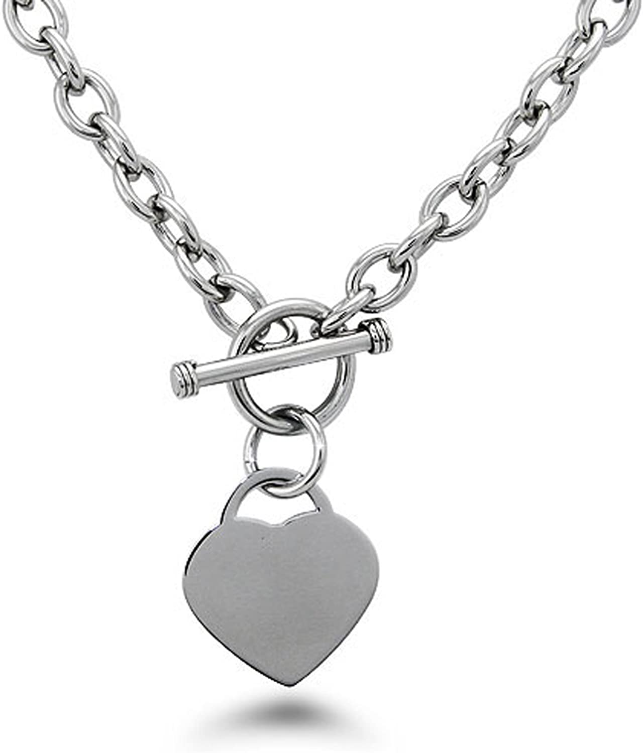 Tioneer Stainless Steel Heart Tag Charm Chain Necklace w/Personalized Engraving w/Personalized Engraving