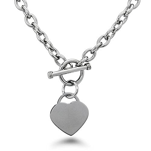 5756a2cda8d4 Image Unavailable. Image not available for. Color  Stainless Steel Heart  Tag Necklace
