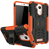Heartly Coolpad Note 5 Back Cover Kick Stand Rugged Shockproof Tough Hybrid Armor Dual Layer Bumper Case - Mobile Orange