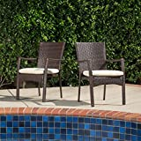 Contemporary, Corsica Outdoor Resin Wicker Patio Brown Dining Chair with Beige Cushion, This sets Adds Elegance To Your Outdoor Lounging Space (Set of 2) – 295878 Review