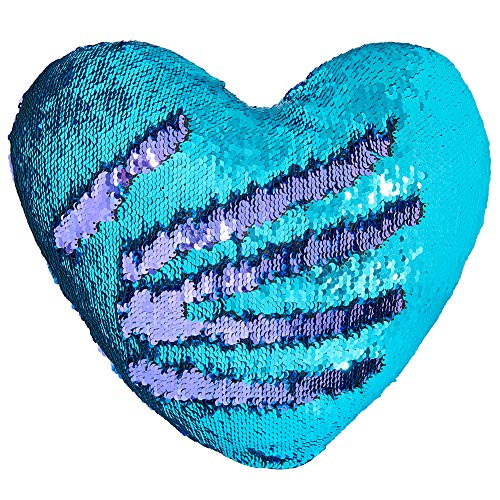 - Play Tailor Mermaid Throw Pillow with Insert Reversible Sequins Pillow Heart Shape Decorative Cushion(13