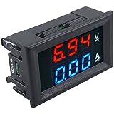 xcluma Digital Voltmeter Ammeter Dc 0-100V 10A Dual Led Red Blue Monitor Panel