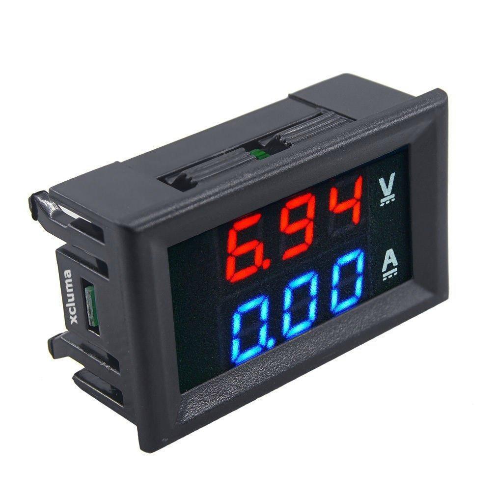 100V Voltmeter 10A Ammeter Red Blue LED Dual Digital Panel Amp Volt Module DC