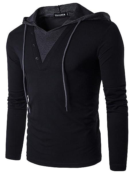 c3830ffd HOP Mens Double V Neck Long Sleeve Work Out Hoodie Shirt HOP0022-Black-S