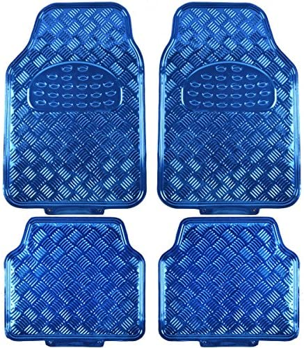 BDK MT-641-BL Universal Fit 4-Piece Set Metallic Design Car Floor Mat – Heavy Duty All Weather With Rubber Backing (Blue)