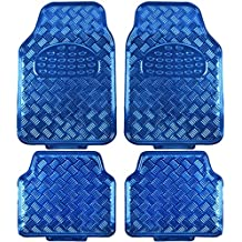 BDK Universal Fit 4-Piece Metallic Design Car Floor Mat - (Blue)