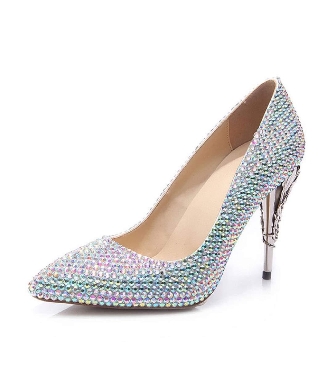 Eeayyygch Damen Farbe Heel Strass Eisen Heel Farbe High Heels Sexy Spitzen Shallow-Mouth Sandalen Braut Sparkle Crystal Schuhe Trendy Night Club Tanzschuhe (Farbe   Farbe Größe   2UK(Foot Length 22CM)) b0c1b3