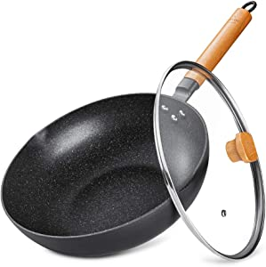SKY LIGHT Wok Pan with Lid, 12-inch Nonstick Stir Fry Pan, 100% APEO & PFOA-Free Granite Stone Coating, Cookware Pot with Detachable Wooden Handle, Induction Compatible