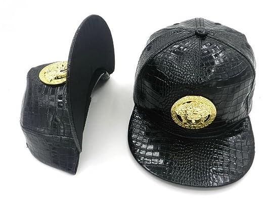 VERSACE snapback en cuir chapeaux   casquettes (noir avec logo en métal) d137bccbadc
