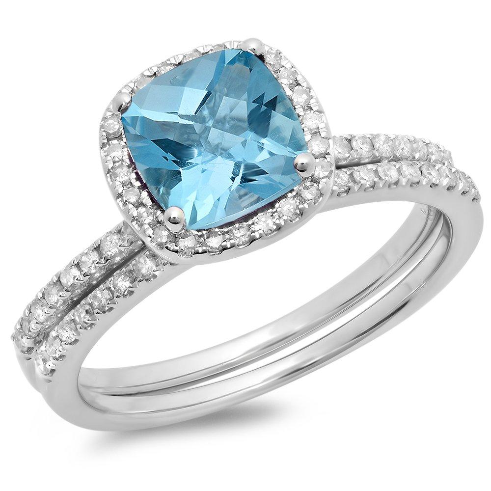 14K White Gold Cushion Cut Blue Topaz & Round Cut White Diamond Halo Engagement Ring Set (Size 6)