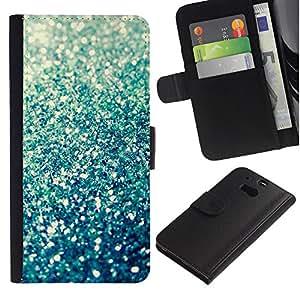 LASTONE PHONE CASE / Lujo Billetera de Cuero Caso del tirón Titular de la tarjeta Flip Carcasa Funda para HTC One M8 / Sparkle Summer Sun Abstract Bling