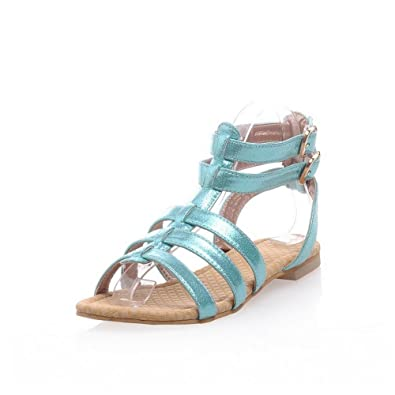 de2c9251b67bcb WeenFashion Womans Open Toe Low Heels PU Soft Material Solid Sandals with T  Strap