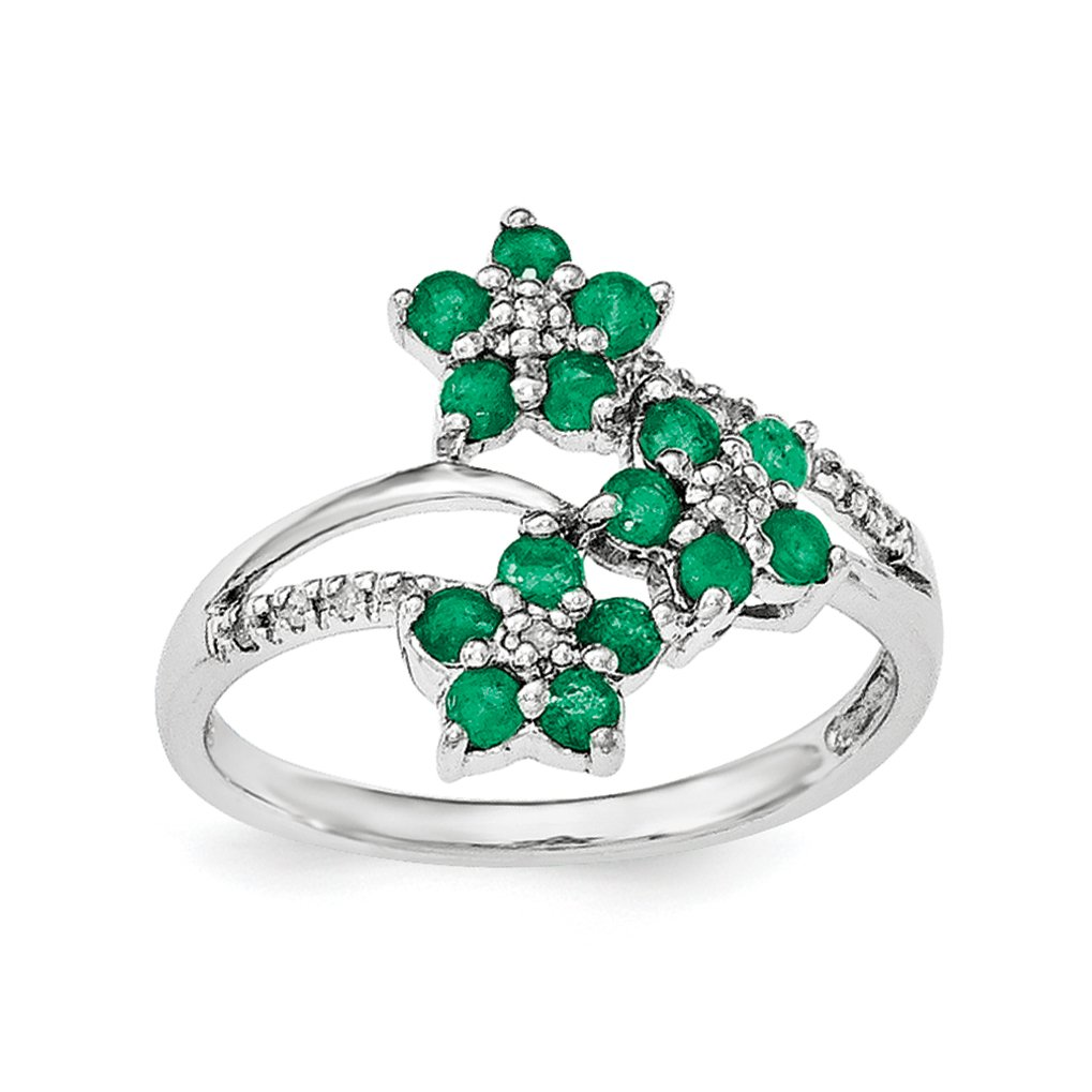 ICE CARATS 925 Sterling Silver 3 Flower Green Emerald Diamond Band Ring Size 8.00 Flowers/leaf Gemstone Fine Jewelry Gift Set For Women Heart