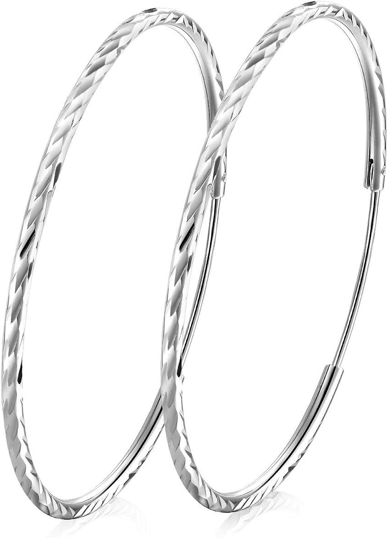 T400 Pendientes Mujer aro de Plata de Ley 925 Durmiente del Corte del Diamante Circulo Redondo, Diámetro:25-65mm