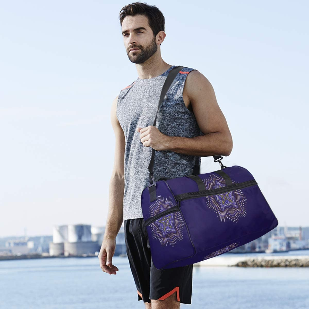 Weekender Bag with Shoes Compartment for Men Women MALPLENA Purple Mandala Travel Duffel Bag