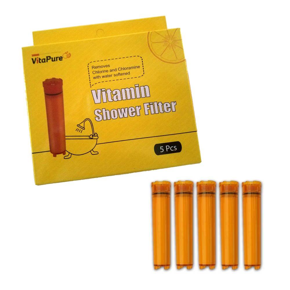 Sonaki Vitamin C Shower Filter Cartridge - (1 Pack of 5) Vitamin C Filter Refills - Remove 99.9% of Chlorine and Chloramines by Sonaki