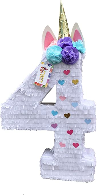 Amazon.com: APINATA4U Número Cuatro Piñata Cuarto Cumpleaños ...