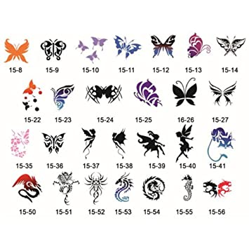 91ab5472e2a2a Amazon.com : Buyter(TM) 102 Sports Designs Self-Adhesive Body Art Temporary  Tattoo Airbrush Stencils Template Books of Butterfly and Animals Booklet 15  : ...