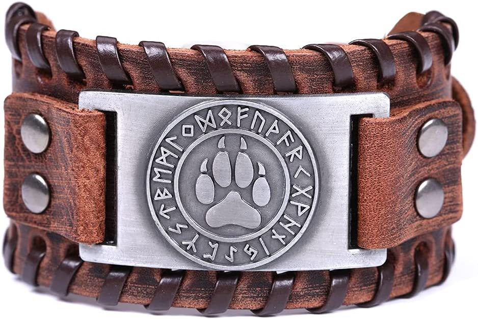 ZJN-JN Pulseras Skyrim Talisman Pulsera de Cuero Genuino Hombres Compass Tree of Life Valknut Wolf Head Charm Pulsera Masculina Amuleto Viking Bracelets (Metal Color : Wolf Claw)