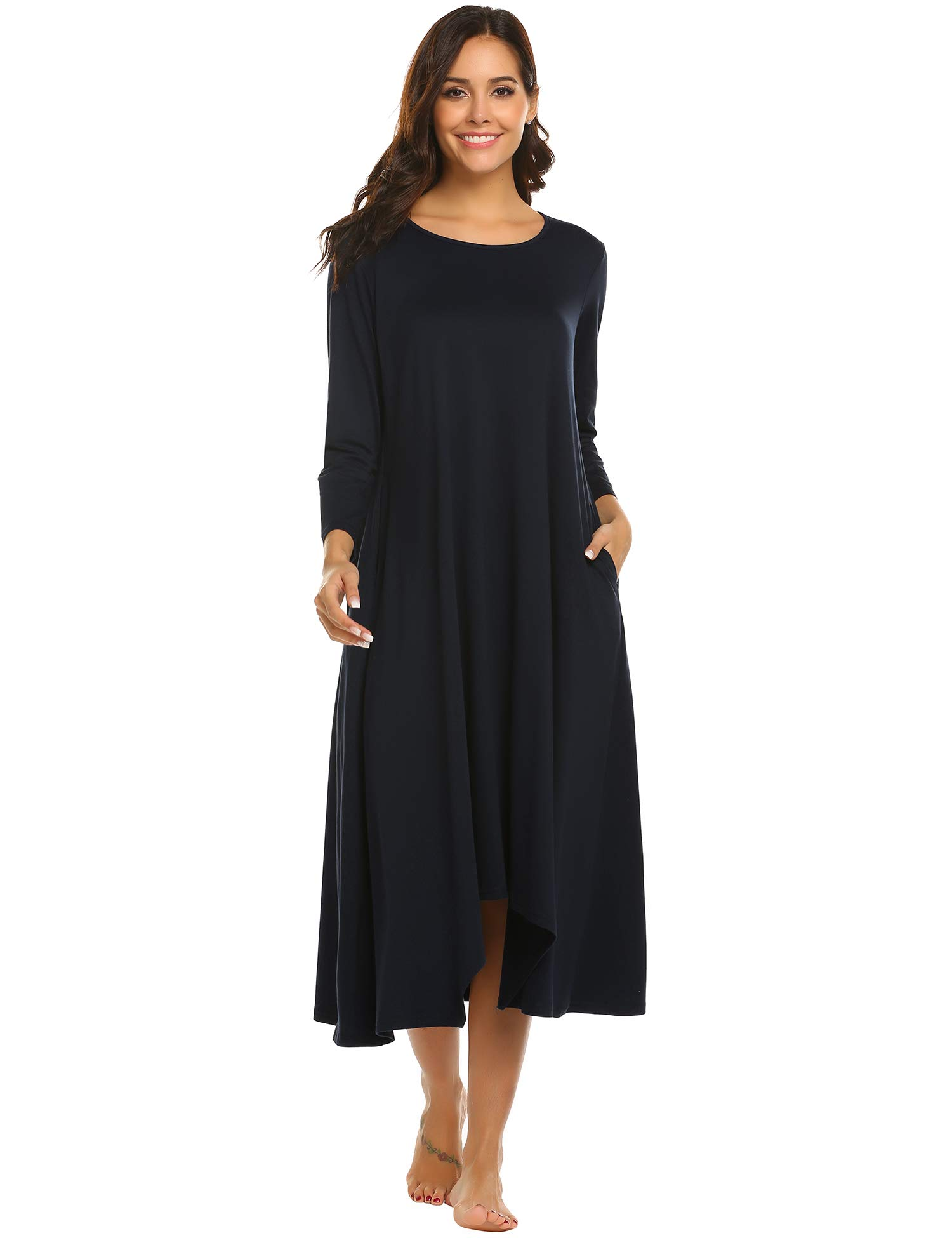 Ekouaer Short Sleeve Nightgown Sleep wear Night Shirt Sleep Dress for Women c212fc4b7