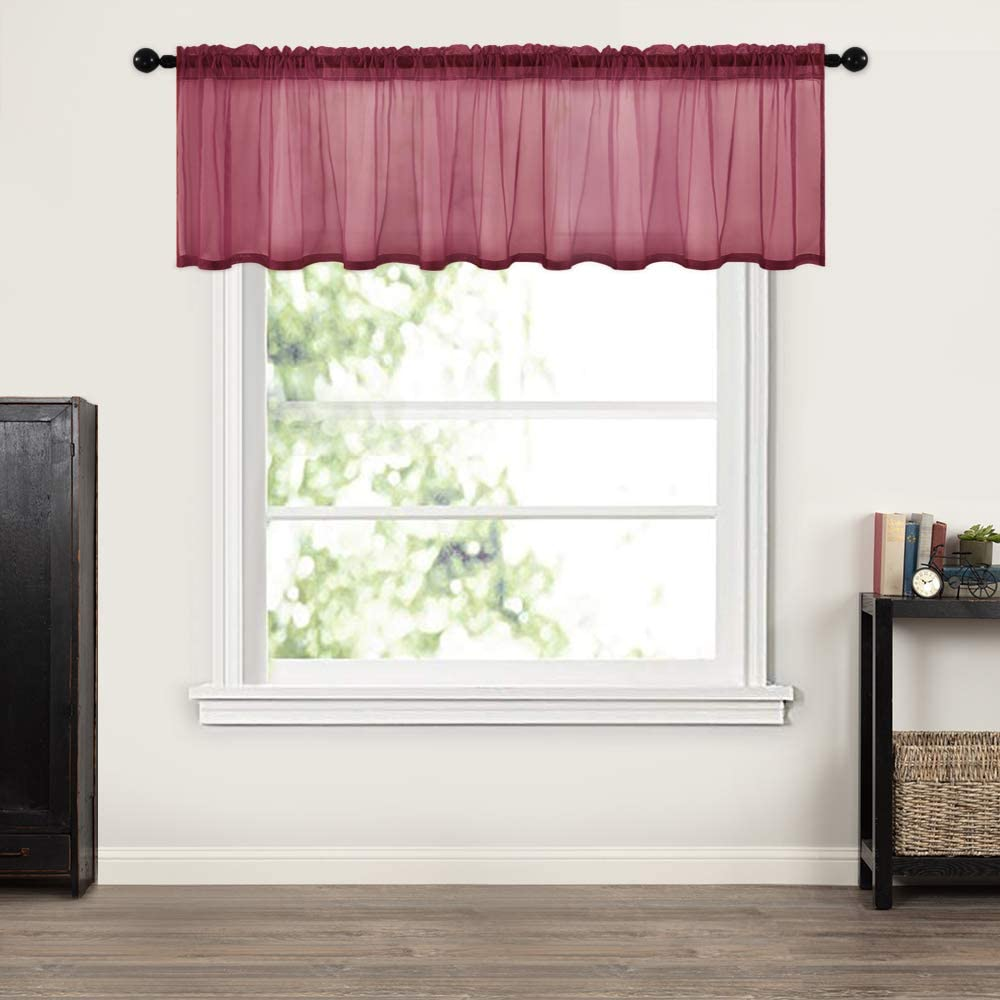 MIULEE Window Valance Half Window Sheer Curtains Rod Pocket Semitranslucent Voile Drapes Extra Wide for Small Window Kitchen Cafe One Panel 60 x 18 Inch Wine Red