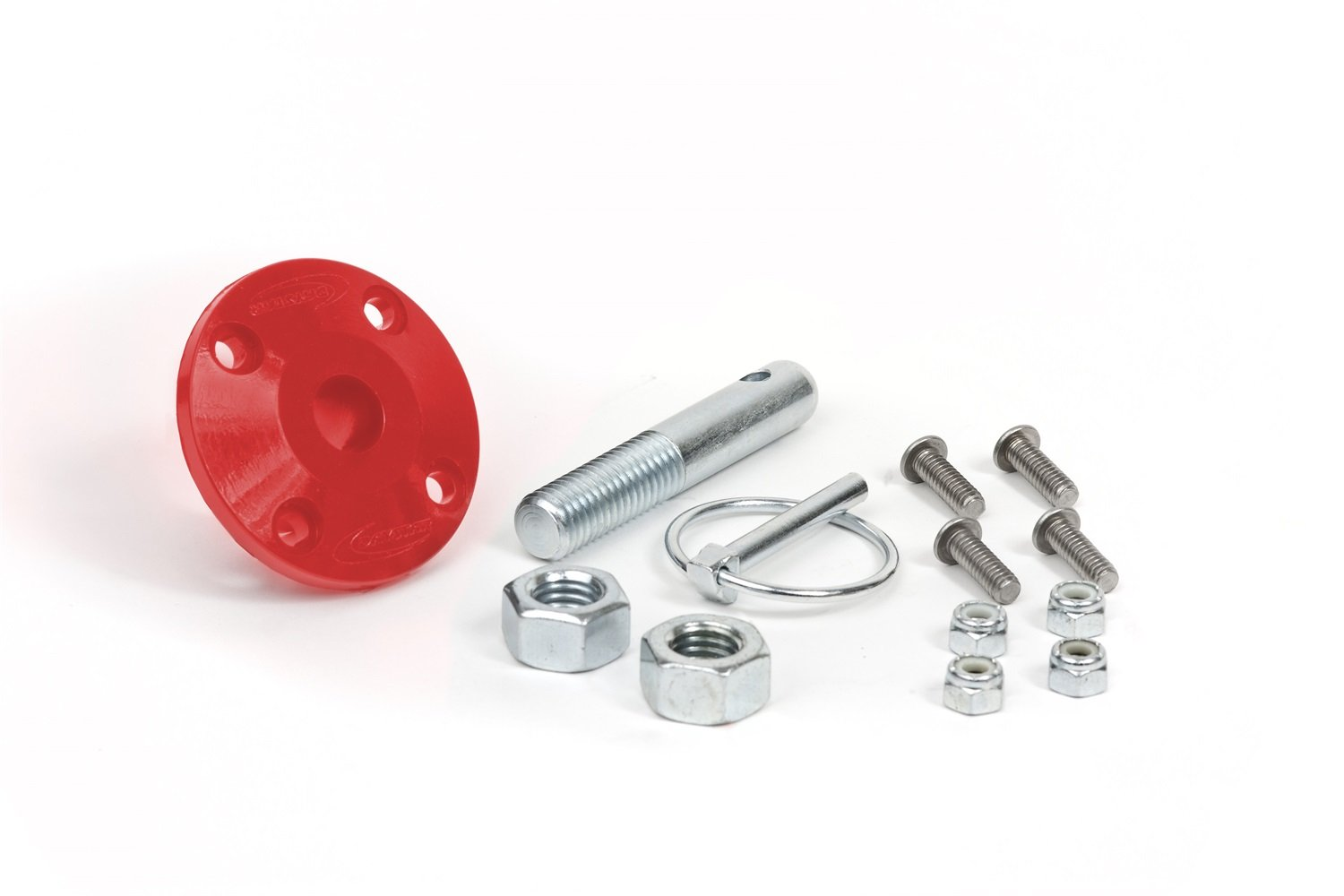 Pin Single Spring Clip Red Universal Hood Pin Kit KU71104RE Daystar and Related Hardware Made in America fits all makes and models 2//4WD Includes Polyurethane Isolator