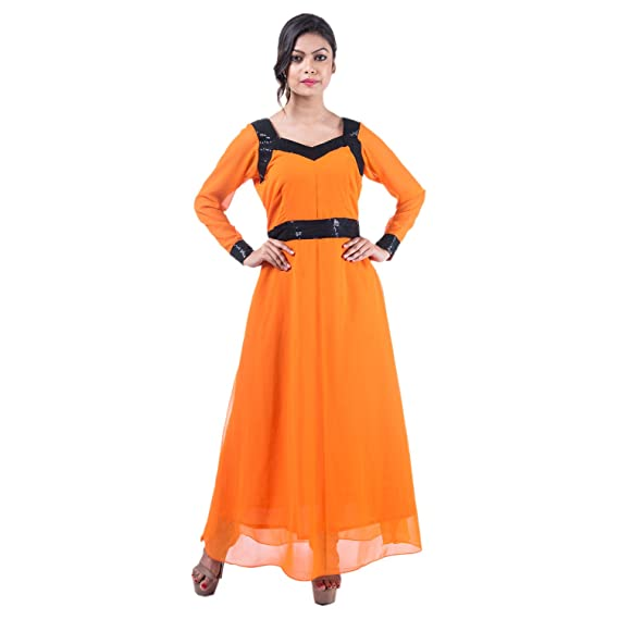 Mamosa Orange Georgette Full Sleeve gown for latest design redymade ...