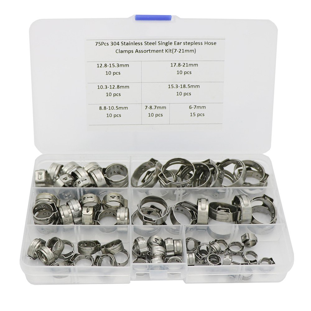 75Pcs Stepless Ear Clamp 7-21mm 304 Stainless Steel Single Ear Hose Clamps Assortment Kit