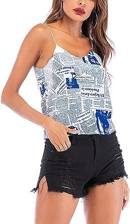 Sling Camisolas Mujer Moda Joven Classic Camisas Tank Tops Estampadas Sin Mangas Clásico Hippie Casual Espalda Descubierta Tops Aireado: Amazon.es: Ropa y accesorios